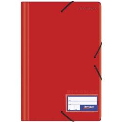 Folder con Liga Plástico Tamaño Oficio Artesco Rojo