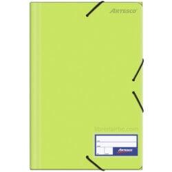 Folder con Liga Plástico Tamaño Oficio Artesco Verde Limón