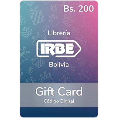 Gift Card Librería IRBE Bs. 200