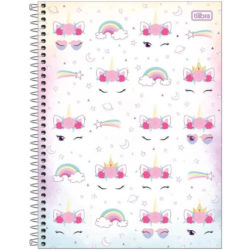Cuaderno Anillado Carta Tilibra Blink con 80 Hojas Cuadriculadas -Unicorns and Rainbows-
