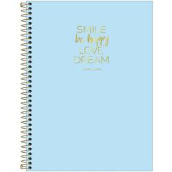 Cuaderno Anillado Carta Tilibra Happy con 80 Hojas Cuadriculadas -Smile- Azul Pastel