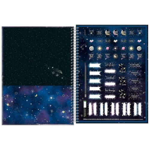 Cuaderno Anillado Carta Tilibra Magic con 80 Hojas Cuadriculadas Interior Stickers