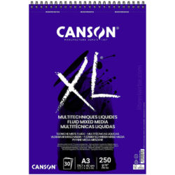 Bloc de Papel CANSON XL® Fluid Mixed Media con 30 Hojas de 250 g Tamaño A3