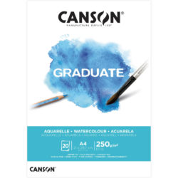 Bloc de Papel para Acuarela CANSON GRADUATE con 20 Hojas de 250 g Tamaño A4