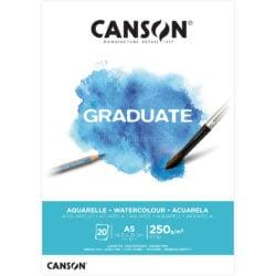Bloc de Papel para Acuarela CANSON GRADUATE con 20 Hojas de 250 g Tamaño A5