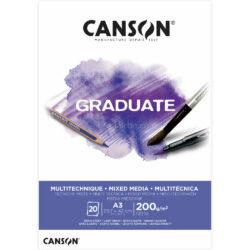 Bloc de Papel para Técnicas Mixtas CANSON GRADUATE con 20 Hojas de 200 g Tamaño A3