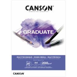 Bloc de Papel para Técnicas Mixtas CANSON GRADUATE con 20 Hojas de 200 g Tamaño A4