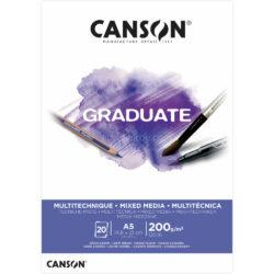 Bloc de Papel para Técnicas Mixtas CANSON GRADUATE con 20 Hojas de 200 g Tamaño A5