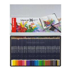 Estuche Metálico con 36 Lápices de Color Artísticos STABILO Schwan Art