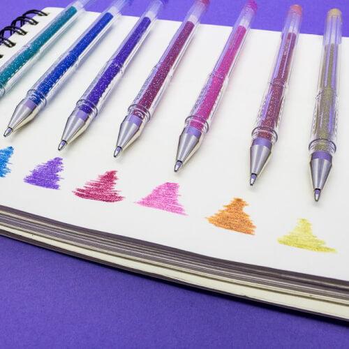 Bolígrafos Gel uni-ball Signo Sparkling Glitter Swatch