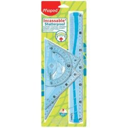 Estuche Geométrico de 4 Piezas Maped Maxi Kit Irrompible Azul