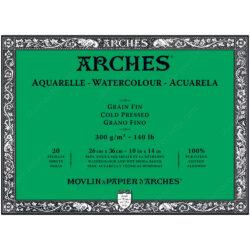 Bloc de Papel para Acuarela ARCHES® 100% Algodón con 20 Hojas de 300 g (26 x 36 cm) - Grano Fino