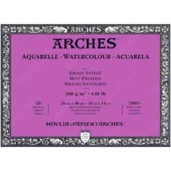 Bloc de Papel para Acuarela ARCHES® 100% Algodón con 20 Hojas de 300 g (26 x 36 cm) - Grano Satinado