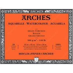 Bloc de Papel para Acuarela ARCHES® 100% Algodón con 20 Hojas de 300 g (31 x 41 cm) - Grano Grueso
