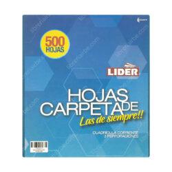 Paquete 500 Hojas de Carpeta de 3 Orificios con Cuadrícula 5 mm LIDER