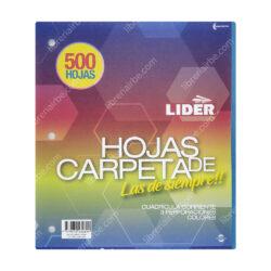 Paquete 500 Hojas de Carpeta de 3 Orificios con Cuadrícula 5 mm LIDER - Multicolor