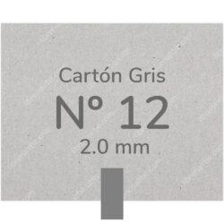 Pliego Cartón Prensado Gris Nº 12 (2.0 mm) 80 x 120 cm