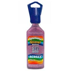 Dimensional Glitter Relieve 3D Color 35 ml ACRILEX Rosa 214