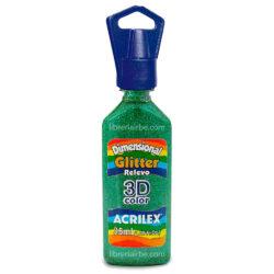 Dimensional Glitter Relieve 3D Color 35 ml ACRILEX Verde 206