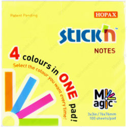 Bloc 100 Notas Adhesivas Stick'n Magic Neón (76 x 76 mm)