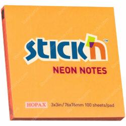 Bloc 100 Notas Adhesivas Stick'n Neón (76 x 76 mm) Naranja