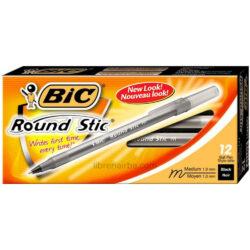 Caja 12 Bolígrafos BIC Round Stic Medium Negro