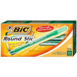 Caja 12 Bolígrafos BIC Round Stic Medium Verde