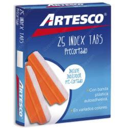 Caja 25 Pestañas Index Tabs Precortado 3.8 cm Artesco - Naranja