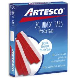 Caja 25 Pestañas Index Tabs Precortado 3.8 cm Artesco - Rojo