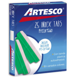 Caja 25 Pestañas Index Tabs Precortado 3.8 cm Artesco - Verde