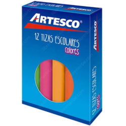 Caja de 12 Tizas Escolares de Colores Artesco