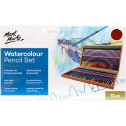 Estuche de Madera con 72 Lápices de Colores Acuarelables para Artistas Mont Marte Premium