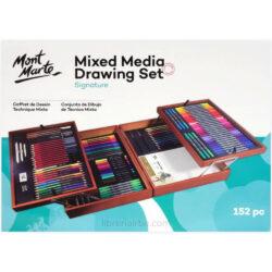 Maletín de Madera de 152 Piezas para Dibujo con Técnicas Mixtas Mont Marte Signature