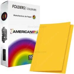 Paquete 100 Fólders de Color Tamaño Oficio American Iris - Amarillo