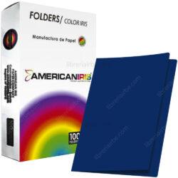 Paquete 100 Fólders de Color Tamaño Oficio American Iris - Azul