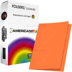 Paquete 100 Fólders de Color Tamaño Oficio American Iris - Naranja