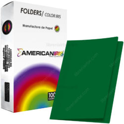 Paquete 100 Fólders de Color Tamaño Oficio American Iris - Verde