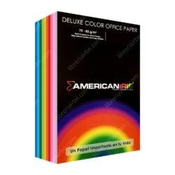 Paquete 500 Hojas de Papel Bond American Iris (10 Colores) Tamaño Carta