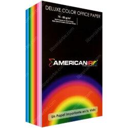 Paquete 500 Hojas de Papel Bond American Iris (10 Colores) Tamaño Oficio