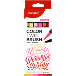 Set 6 Marcadores Doble Punta Pincel Monami Color Twin Brush - Flower