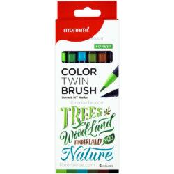 Set 6 Marcadores Doble Punta Pincel Monami Color Twin Brush - Forest