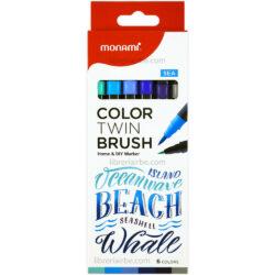 Set 6 Marcadores Doble Punta Pincel Monami Color Twin Brush - Sea