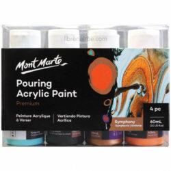 Set Pintura Acrílica Fluida para Acrylic Pouring con 4 Botes de 60 ml Mont Marte Premium
