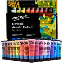 Set Pintura Acrílica Metálica con 36 Tubos de 36 ml Mont Marte Signature