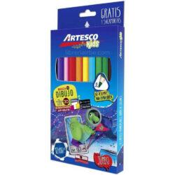 Set de 12 Lápices de Colores Jumbo + Sacapuntas Artesco