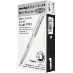 Caja 12 Bolígrafos Gel uni-ball Signo Broad UM-153 Blanco