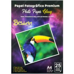 Paquete 25 Hojas de Papel Fotográfico con Brillo 200 g Tamaño A4