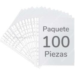 Paquete de 100 Fundas Plásticas Transparentes de 11 Orificios Tamaño Carta