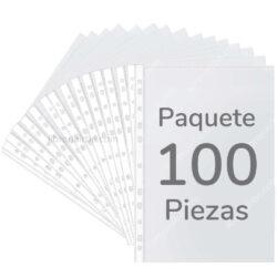 Paquete de 100 Fundas Plásticas Transparentes de 11 Orificios Tamaño Oficio
