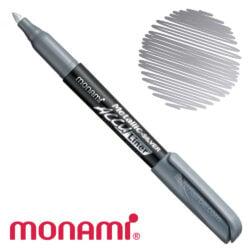 Marcador Permanente Monami Accu Liner - Plateado Metálico